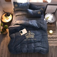Cool 4pcs Crystal Flannel The crown Bedding set Winter Warm Fleece golden embroidery Duvet cover set Bed Sheet Queen King sizeAT_93_12