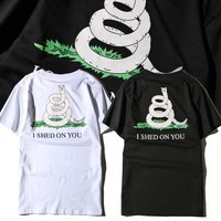 Short Sleeve Couple Summer Cotton Round-neck Pullover Tops T-shirts [10390942407]