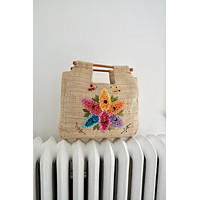 Vintage Woven Straw Floral Tote