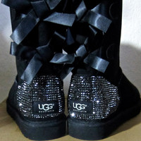 Swarovski Crystal Embellished Bailey Bow Uggs in Jet Hematite Crystals - Winter / Holiday Bling UGGs 2013
