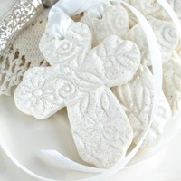 Personalized Baptism Favors Imprinted Cross with Ribbon Baptism Favors Set of 6 Salt Dough Napkin Ring / Tie Ornaments