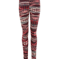 Red and White Aztec Print Leggings