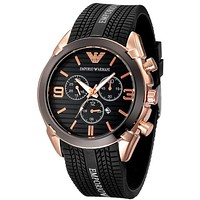 Armani Fashion Women Men Personality Strap Letter Print Quartz Watches Wrist Watch Black I