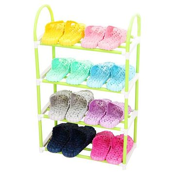 Multi Color Iron Four Layer Shoe Rack Assembly DIY Home Simple Plastic Daily Necessities of Life Shoe Shelf Home Furniture