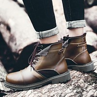 Genuine Leather Men Boots Winter High Quality Winter Men Boots Men Winter Shoes Plush Warm