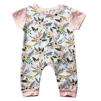Summer born Toddler Baby Boy Girl Romper Floral Short Sleeve Jumpsuit Clothes Outfits 0-24M