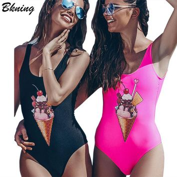 Bkning 2018 Funny Swimsuit One Piece Swim Suit Print Swimwear Women Swimming Suit Push Up Bathing Suit Female Bodysuit Monokini