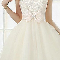 White Floral Lace Sleeveless Midi Dress with Bowknot