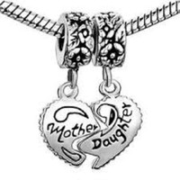 Believe Mother/Daughter Heart Dangle Charm Bead Will Fit Pandora/Troll/Chamilia Style Charm Bracelet.