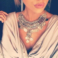 Bohemian Vintage Chunky Statement Necklace Silver Coin Choker