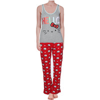 Hello Kitty Womens Juniors Kitty's Dream 3PC Heathered Pajama Set