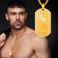 Constellation Zodiac Jewelry Men Dog Tag Pendant Stainless Steel/ 18K Gold Plated Chain Leo Zodiac Necklace