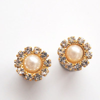 0g 8mm 2g 6mm 4g 5mm Golden Pearl  Rhinestone 316L Surgical Stainless Steel Double Flared Wedding Plugs for Stretched Ears-  Tunnels Gauges