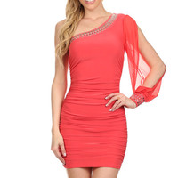 One Shoulder Chiffon Lace Dress - Coral
