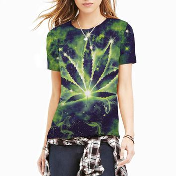 New T Shirt 3D Weed Constellation