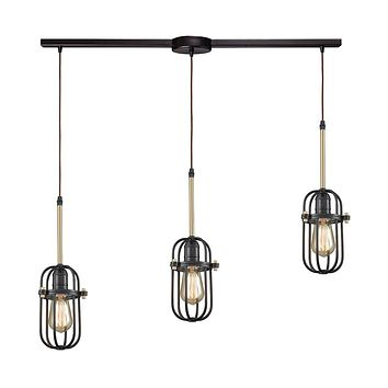 Binghamton 3-Light Linear Mini Pendant Fixture in Bronze and Satin Brass with Metal Cage