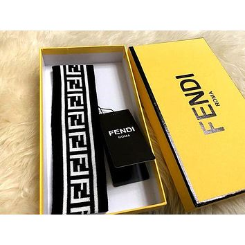 Fendi men and women with knitted striped letter headband #2