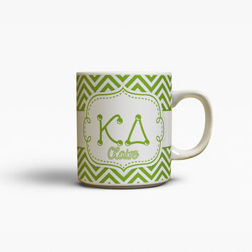 KAPPA DELTA - THIN GREEN CHEVRON - KD SORORITY COFFEE MUG