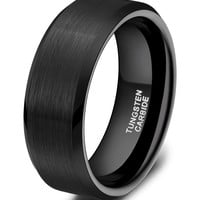 Crater Matte Finished Beveled Edge Black Plated 8mm Tungsten Ring
