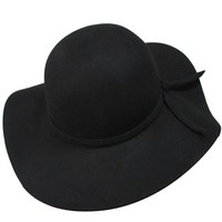 Fashion Vintage Black Lady Wide Brim Wool Felt Bowler Fedora Hat Floppy Cloche