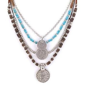 Antique Coins Layered Necklace Turquoise