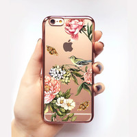 Transparent Vintage Floral iPhone Case - Transparent Case - Clear Case - Transparent iPhone 6 - Transparent iPhone 6S - Gel Case - Soft TPU