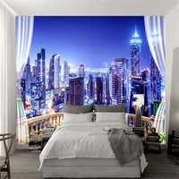 Custom Wall Murals 3D Steroscopic Wallpaper City Theme Style Bright Night Photo Walls Papers for Living Room Home Decor Bedroom