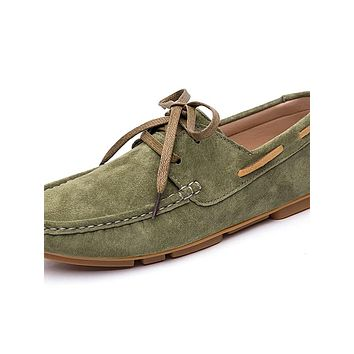Men's Moccasin Suede Winter / Spring & Summer Classic / Casual Boat Shoes Non-slipping Black / Green / Brown