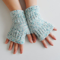 gloves,, knitting gloves, fingerless gloves, mint green marbling gloves, wrist warmers,  woman, girls  valentine day gifts hand warmers