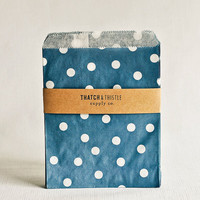 Paper Bags in Navy Blue Polka Dots - Set of 20 - 5x7 Party Favor Kraft Gift Wrapping Invitations Packaging Embellishment Sacks Merchandise