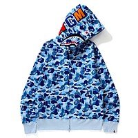 BAPE Tide brand thin shark head zipper hooded sweater Blue