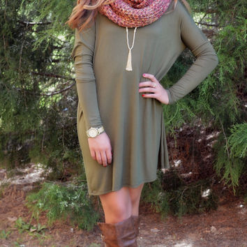 Time Well Wasted Olive Long Sleeve Dress