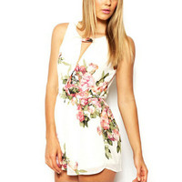 summer cute female overalls Clothing open back chiffon floral romper women Summer playsuits jumpsuit