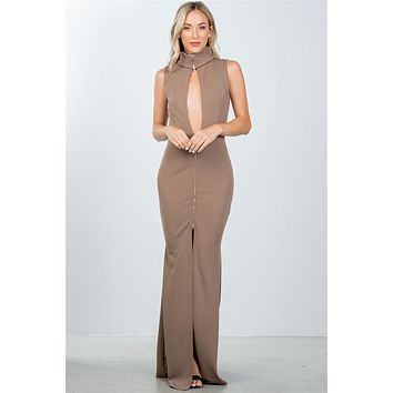 Mocha High Neck Sexy Long Evening Dress