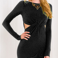 Black Long Sleeve Cut-Out Waist Knitted Bodycon Dress