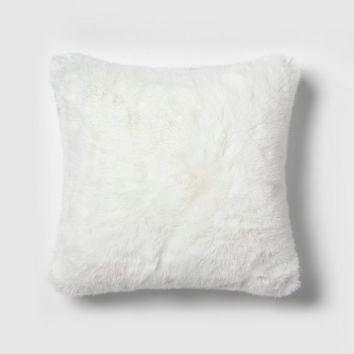 Faux Fur Square Throw Pillow White - Simply Shabby Chic®