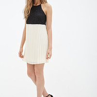 LOVE 21 Colorblocked Lacy Cami Dress Cream/Black