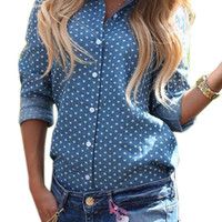 Blue Heart Print Back High Split Long Sleeve Polo Blouse