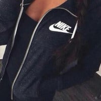 "Women ""NIKE"" Casual Hooded Zip Knitwear Cardigan Sweatshirt Jacket Coat"