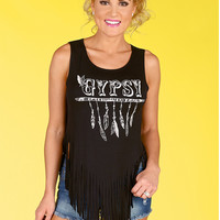 Black Fringed Print Tank Top B007726