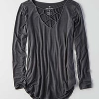 AEO Soft & Sexy Cage Front T-Shirt , Gray