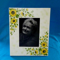Hand Painted Picture Frame Wood Photo Holder Custom Decorative Sunflowers 5x7
