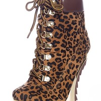 Date with the Night Curved Wedge Booties - Leopard from Alba Footwear at Lucky 21