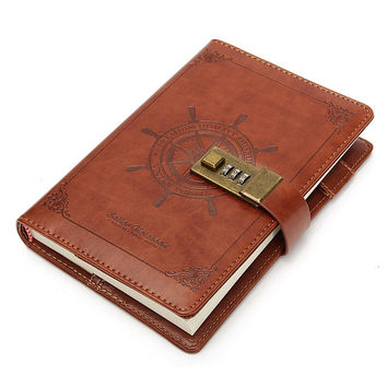 1Pcs Retro Rudder Brown Leather Journal Blank Diary Note Book with Password Code Lock Office School Stationery Supplies Gifts