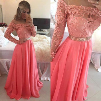 2017 Hot Coral Sheer Neck Long Sleeve Prom Dress Pearl Appliques With Crystals Sash Chiffon Floor Length A-Line Party Gown PD108
