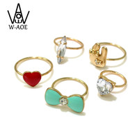 5 pcs/set 2017 New Design Brand Fashion Gold Plated Midi Finger Knuckle Rings Set For Women Girl Rabbit Heart Rhinestone Ring