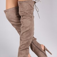 Qupid Suede Peep Toe Over the Knee Boots