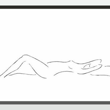 Sleeping woman illustration. Black and white nude wall art print for bedroom decor. Minimalist line drawing.