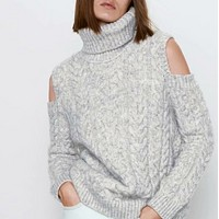 Hot style popular open design eight-strand knit sweater for women