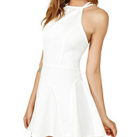 White Backless Strappy Mini Skater Dress
